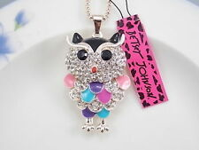Betsey Johnson cute inlaid Crystal Owl pendant necklace # B213M