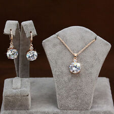 9K Gold Filled  Beautiful Luxury Set Necklace+Pendant+ Earrings