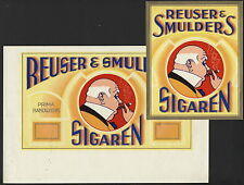 LA5917 SET OF 2 CIGARBOX LABELS REUSER & SMULDERS CIGARS SMOKING MAN
