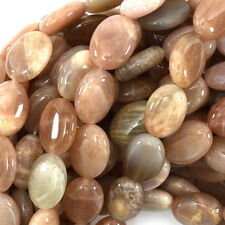 "14mm sunstone flat oval beads 15.5"" strand"