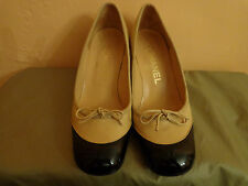 Authentic Chanel Beige Leather & Black Patent Leather  Heels Shoes Size 5