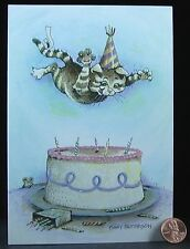 Cat Kitten Bombing Cake Candles Mouse Hat Happy Birthday Greetiing Card - UNUSED