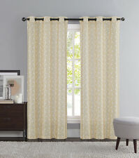 Taupe and Ivory Two Piece Window Curtain Panels: Grommets, iKat Geometric Design