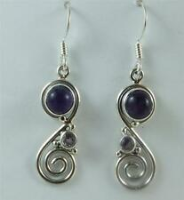 "Sterling Silver Amethyst Lapis Earrings Bali 1 1/2"" Long Nickel Free Handmade"