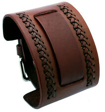 Nemesis NW-B 24 mm Lug Width Brown Wide Leather Cuff Wrist Watch Band