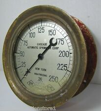 Antique Cascade Auto Sprinkler Corp US Gauge Co NY pat 1906 brass red fire alarm