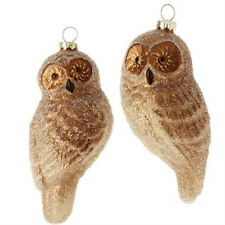 3416347 Set of 2 Beaded Owl Glass Ornaments Christmas Woods Birds Holiday Nature