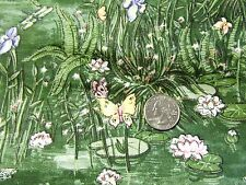 """Yellow Pink Lilac Butterfly Lilly Pad Sage Green Cotton Quilting Fabric 44""""x 11"""""""