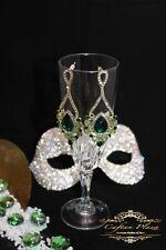 Große Ohrringe,Vintage Ohrhänger, 18 K plt, Strass,Kristall Brautschmuck Grün