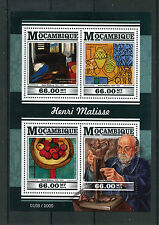 Mozambique 2015 MNH Henri Matisse 4v M/S Paintings Interior Violin Yellow Blue