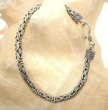 4.5mm Sterling Silver Oxidized Bali Indonesia Byzantine Bracelet 8.0""