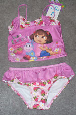 New Dora the Explorer Strawberry Two piece Swimsuit Pink Ruffle Size 4T Cute!