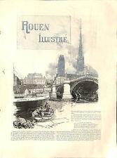 ROUEN ARTICLE DE PRESSE MASSON-FORESTIER GRAVURE ENGRAVING AUGUSTE LEPERE 1896