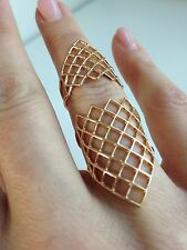 NEW SHAY fine jewelry rose gold double ring 7 chain geometric red carpet