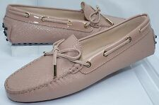 Tod's Women's Shoes Beige Pink Rubber Moccasin Flats Size 39.5 Leather NIB