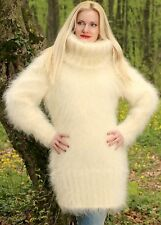 SUPERTANYA IVORY CREAM Hand Knitted Mohair Sweater Fuzzy Boutique Handmade Dress