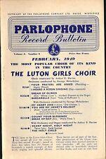 PARLOPHONE bulletin vol 3 no 2: record catalogue february 1949 luton girls choir