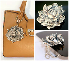 2 in 1: Table Handbag HANGER HOOK + LEATHER BAG CHARM Snake Print Rose Flower