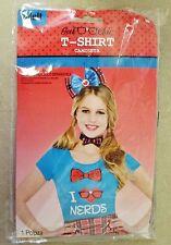 """Hello Kitty Geek Chic Shirt """"I Heart Nerds"""" Blue T-shirt Size Adult"""