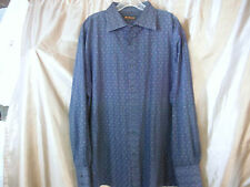 Ben Sherman Shirt Blue Red Pattern Button Front Geometric MOD Size XXL 5