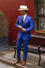 Royal Blue Groom Tuxedos Cheap Slim Fit Notched Lapel Wedding Prom Men Suits