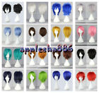 New 16 Colors Fashion Short Straight Man Wig Cosplay Party Wigs + gift