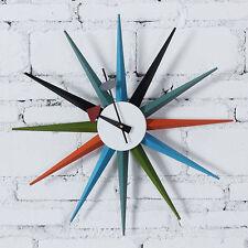 Multi Color Mid Century Danish Nelson Style Sunburst Atomic Wall Clock