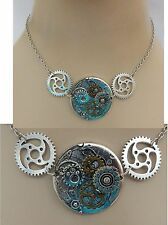Silver Steampunk Clock Strand Necklace Handmade NEW Cosplay Adjustable Gears