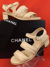 15P NIB CHANEL BEIGE QUILTED LEATHER CC LOGO CHAIN WEAVED SANDALS PUMPS 39 $1450
