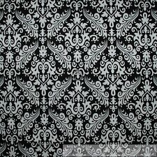 BonEful Fabric FQ Cotton Quilt Flannel Black White B&W Small Flower Damask Heart