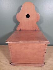 ANTIQUE MAPLE SALT BOX WITH BOX JOINTS AND WIRED ON LID