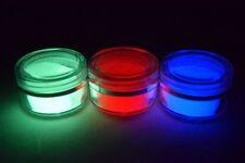 3x Glow in the dark pigment powder Red, Blue, Green; GRATIS nail art decorations