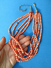 90g NATIVE AMERICAN ~ GENUINE NATURAL ANGEL SKIN CORAL STERLING SILVER NECKLACE