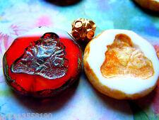 Neue geprägte Red&Vanilla Table Cut-Buddha-Perlen m.Picasso -23mm- 2Stk.