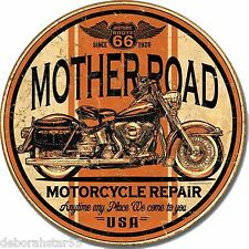 Mother Road Route 66 Motorcycle Bike Repair Vintage Retro Metal Tin Sign 1697
