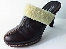 COACH KACIE DARK BROWN LEATHER MULE W HIGH HEEL SHOE & FAUX FUR COLLAR SZ 7M