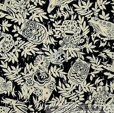 BonEful FABRIC Cotton Quilt Black Tan Leaf Jungle Safari Animal Monkey Owl SCRAP