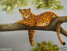 "Oil Painting On Stretched Canvas 12x16""- ""Cheetah Laying On Tree"""
