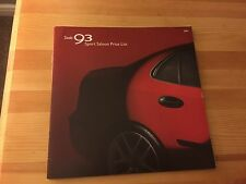 SAAB 93 9-3 Sport Saloon 2004 UK Price List Brochure - Aero, Vector, Arc