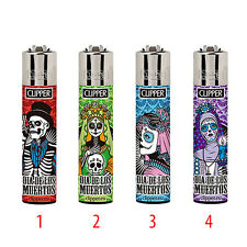 ★1 ACCENDINO CLIPPER GAS LARGE SANTA MUERTE RICARICABILE LIMITED VARI COLORI★