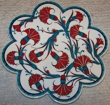"Turquoise & Red 7"" Turkish Iznik Carnation Pattern Ceramic Hot Plate Trivet Tile"