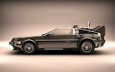 Framed Print - The Delorean from Back to the Future (Picture Blu-Ray DVD Movie)