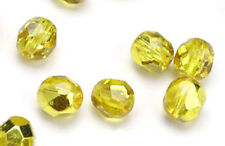 50 Yellow Gold Metallic Faceted  Beads 6MM