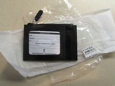 ILI Leather Zip Coin Bill Pouch  Thin Line Wallet ID Card Holder Black