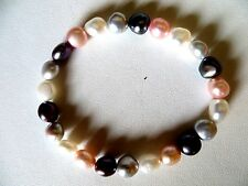 Honora Cultured Multi Color Tones Pearls Stretch Bracelet  7- 8 MM 7 Inch