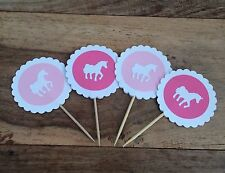 12 Pink Unicorn Cake Toppers. Birthday/Christening/Party