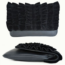 Womens Foldover Evening Cocktail Black Velvet Handbag Purse Clutch Bag Brand NEW