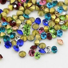 140PCS Diamond Shape Grade A Glass Pointed Back Chaton Rhinestones Mixed Color