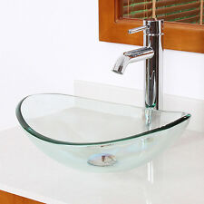 Bath Tempered Clear Glass Vanity Vessel Sink Oval Bowl Combo Chrome Faucet+Drain