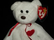 AH Ty White Beanie Baby Babies 1994 Valentino Bear With Red Heart Valentine Love